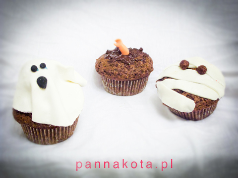 muffinki-halloween, duch, rączka i mumia., pannakota.pl